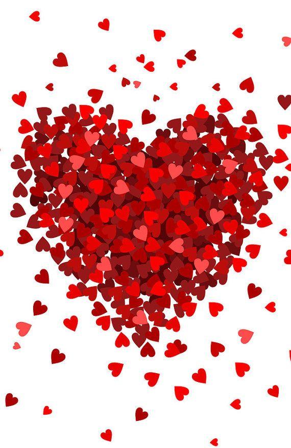 Small Hearts Big Heart Photo Backdrop // Polypaper Photography Backdrop // SIZES: 5'x5', 5'x6', 5'x7
