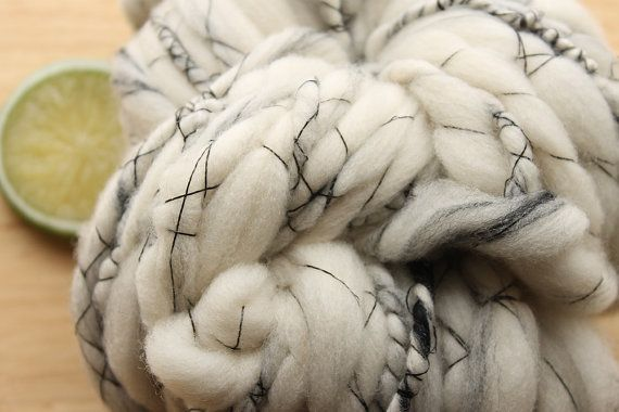 Stone  Fat Wool Art Yarn Handspun Cream Black by thefinelime