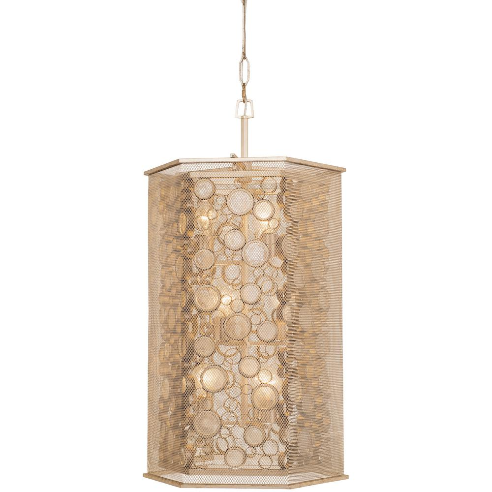Varaluz fascination 9 light zen gold with recycled champagne glass hex foyer pendant