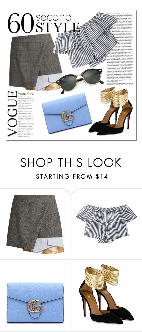 """Style to go"" by zajc-ziva ❤ liked on Polyvore featuring Toga, Gucci, Aquazzura, Ray-Ban, asymmetricskirts and 60secondstyle"