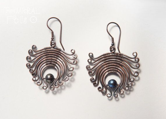 Little flowers in copper with black pearl. by TemporalFocus, €45.00