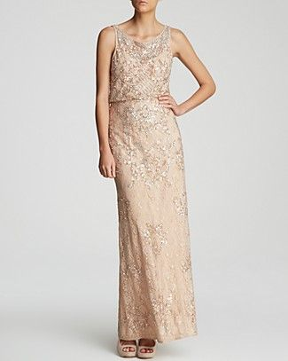 Aidan Mattox Gown - Sleeveless Sequin Lace Blouson | Bloomingdale's