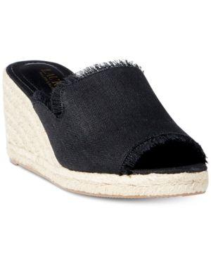 c904d971c9c5c Lauren Ralph Lauren Carlynda Espadrille Wedge Sandals - Black 8.5M ...