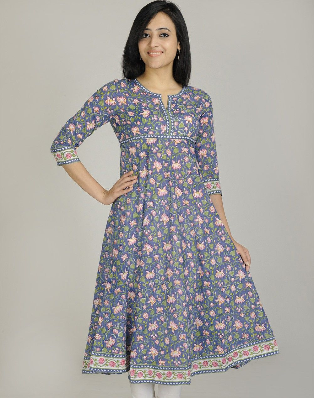 Cotton Printed Empireline Anarkali Long Kurta. $61 on 9/7 ...