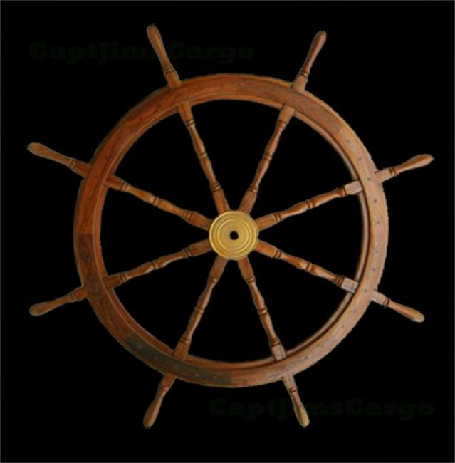 Wooden Teak Boat Ships Wheel Brass Center Nautical Home Maritime Decor Nautical Decor