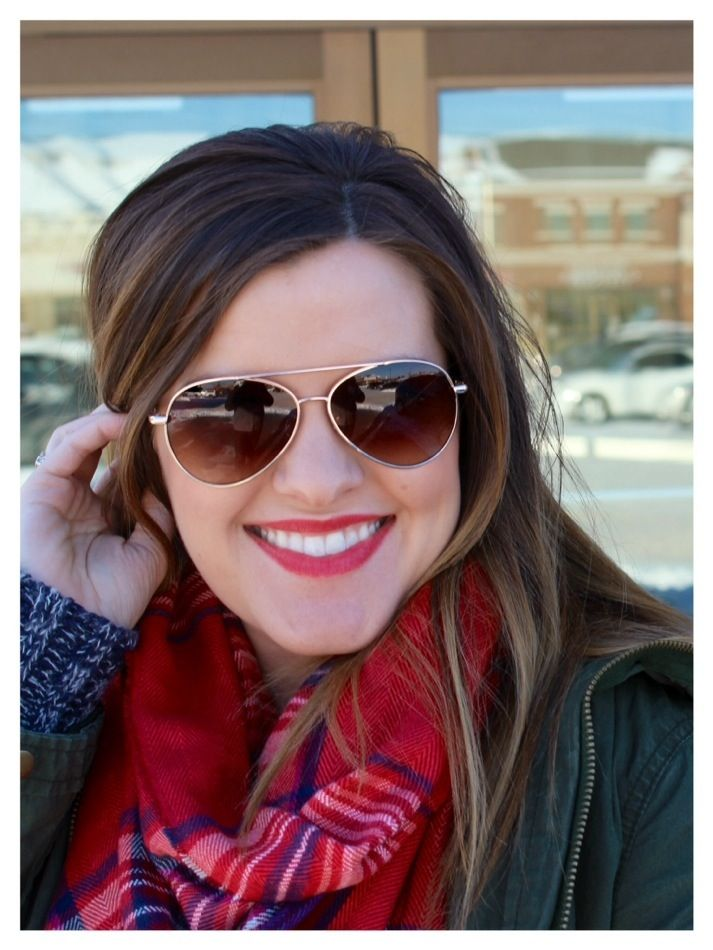 plaid scarf + military jacket + aviators = perfect winter style