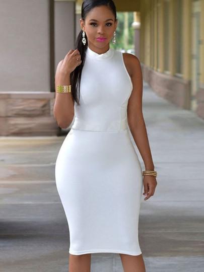 e5a777a944 chyna sexy Plus Size white Bodycon Dress Turtle Neck Open Back Women s