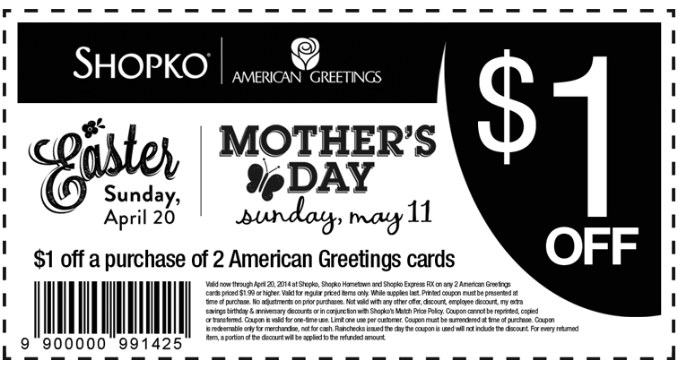 picture relating to Shopko 20 Off Printable Coupon known as Shopko: $1 off American Greeting Playing cards Printable Coupon