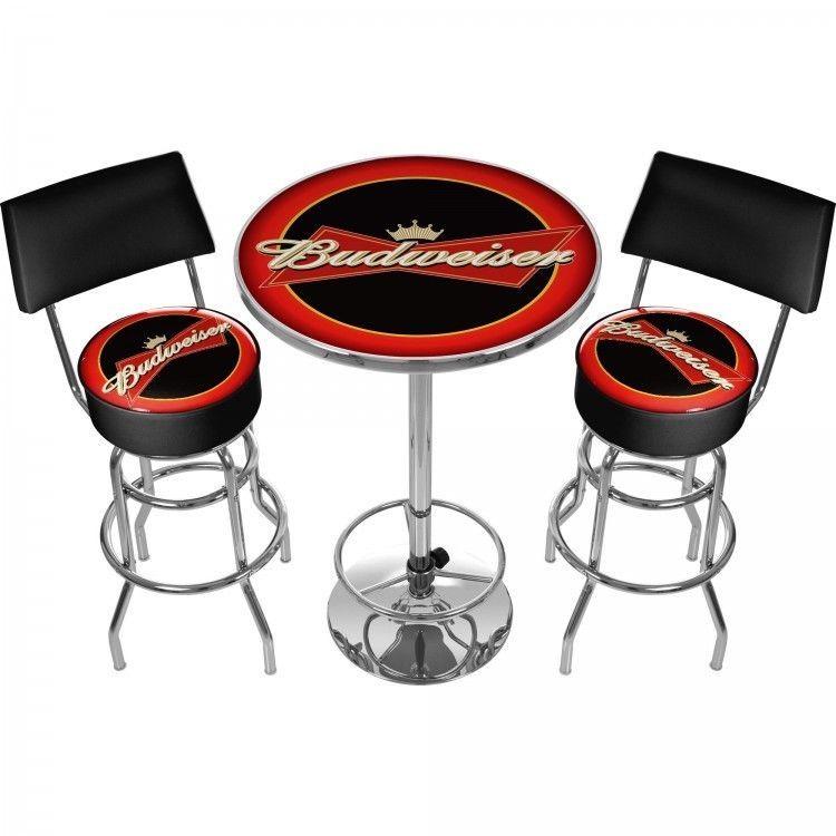 Budweiser Bar Stools And Table Set Man Cave 360 Degree Swivel Padded Seat Trademark Bar Stool Table Set Bar Stools Padded Bar Stools