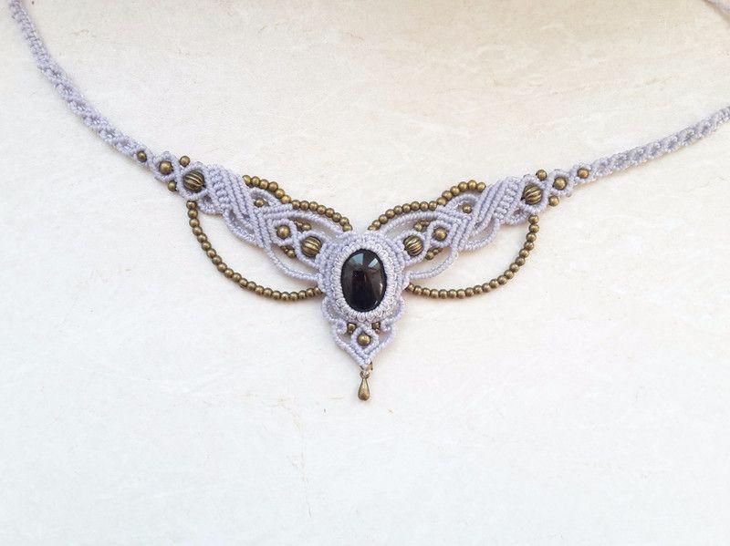 diademe macrame makramee kette diadem tiara onyx hippie ein designerst ck von justbea bei. Black Bedroom Furniture Sets. Home Design Ideas