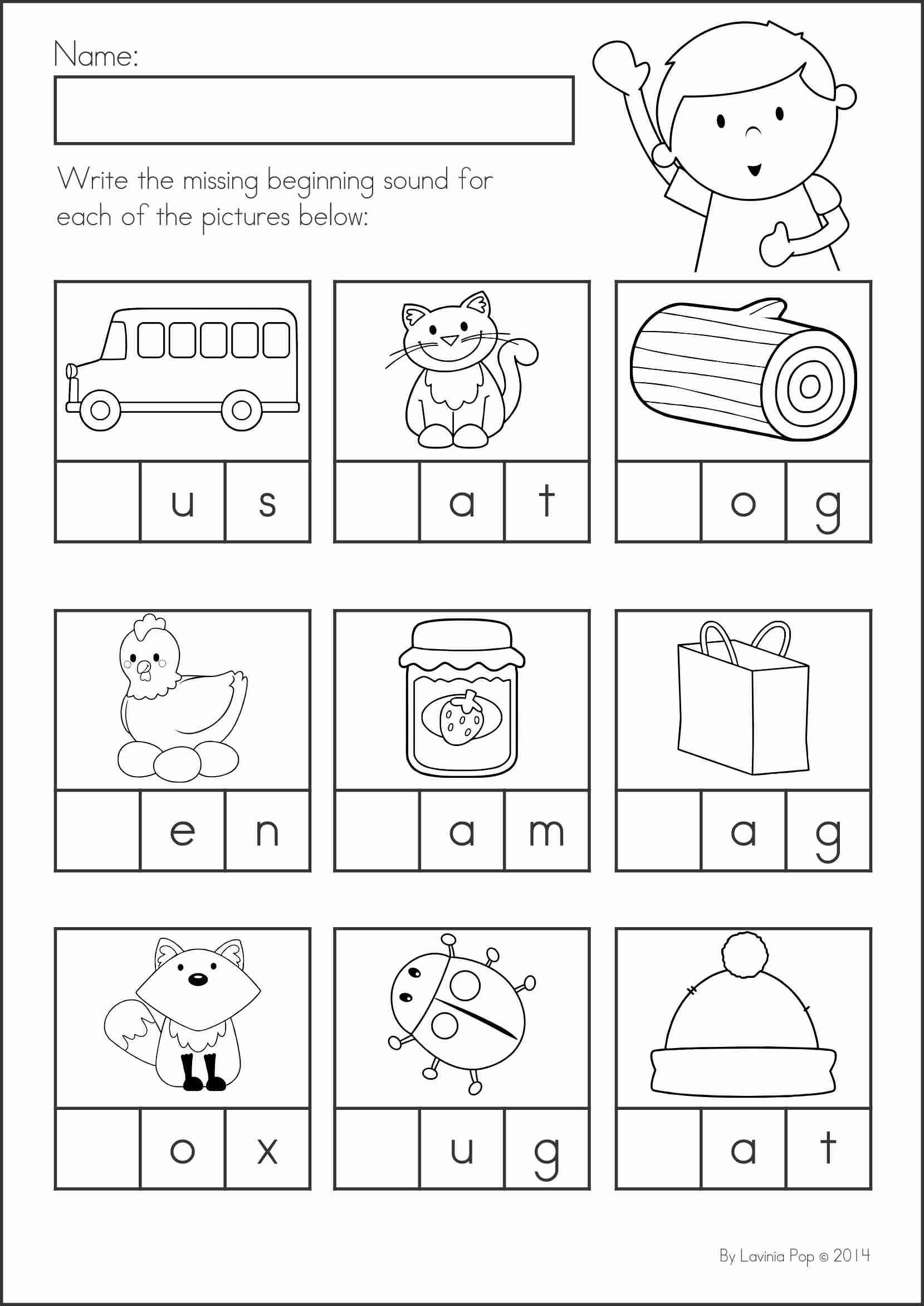 3 Kindergarten Worksheets Reading Beginning Sounds Back To