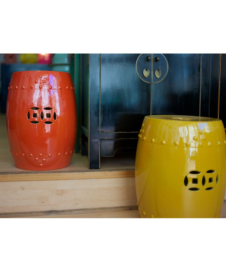 Ceramic Stool Burnt Orange - Chinese Furniture   Chinese ...