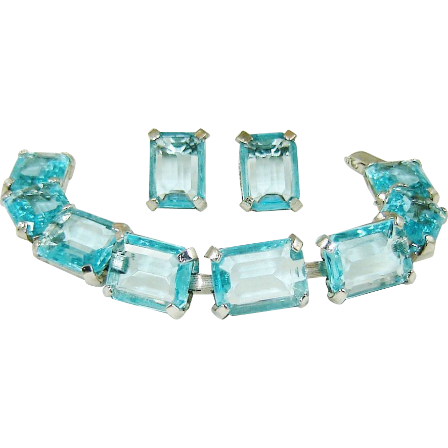 Vintage Aquamarine Rhinestone Bracelet Earrings Judy Lee Set offered by The VINTAGE CAROUSEL a Ruby Lane Shop
