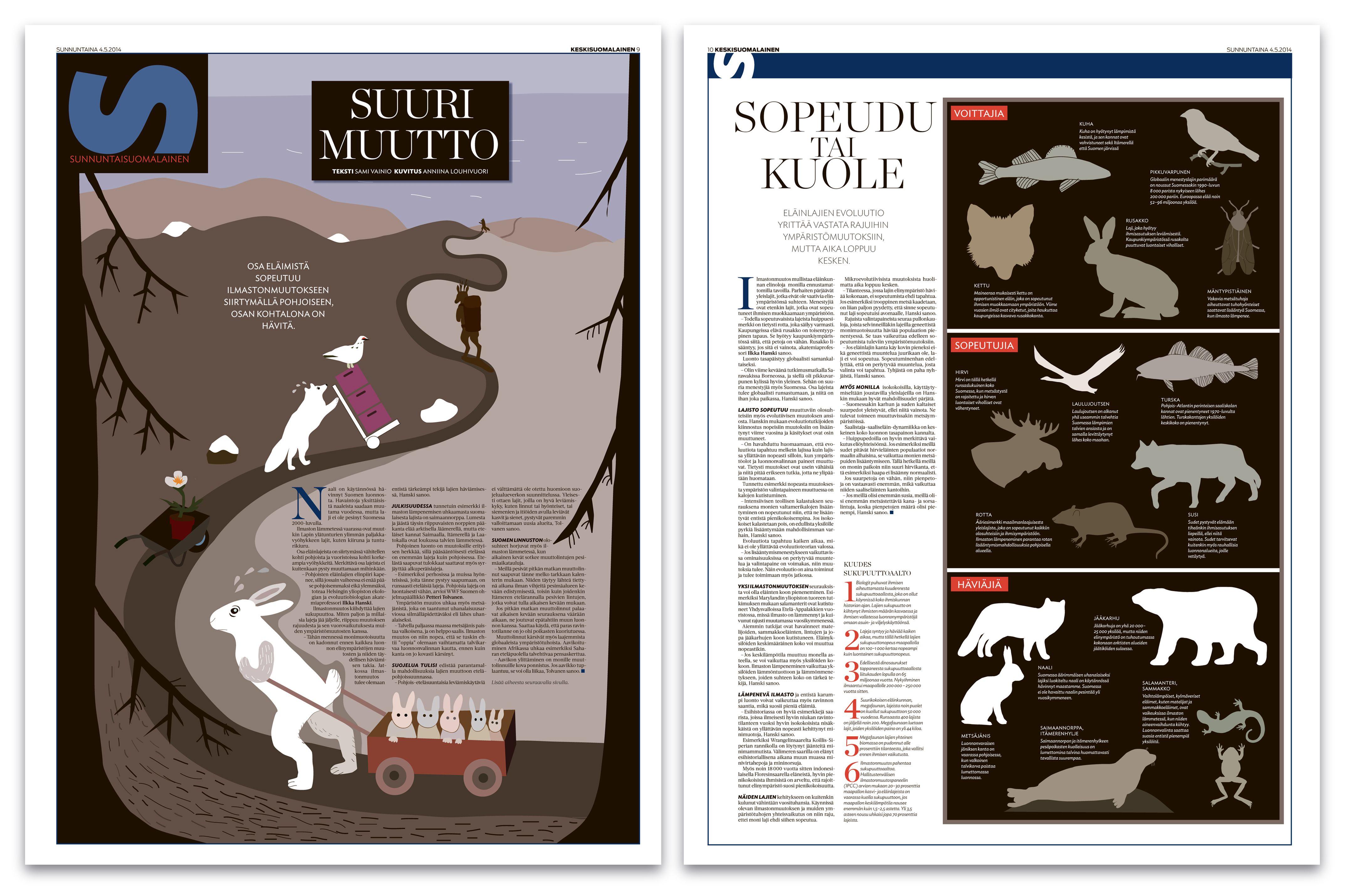 European Newspaper Award  Kun lumiraja siirtyy pohjoista kohti, on pupunkin lähdettävä muuttoreissulle. Ilmastonmuutos vaikuttaa eläimiin monella tavalla: osa kutistuu, osa kasvaa, osa häviää kokonaan. Suurta muuttoa seurattiin Susussa 4.5.2014. Teksti: Sami Vainio, kuvitus: Anniina Louhivuori