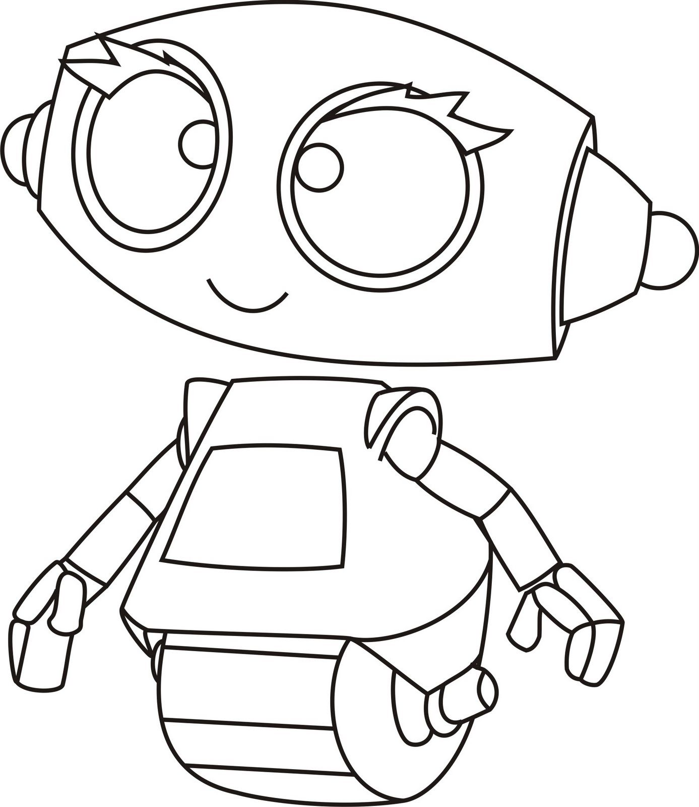 Coloring pictures robot - Simple Robot Coloring Page For Kids