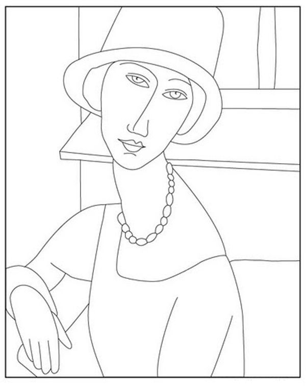 Disegni Da Colorare Di Quadri Famosi.Modigliani Disegni Da Colorare Astratti Arte Famosa Arte Di Bambino
