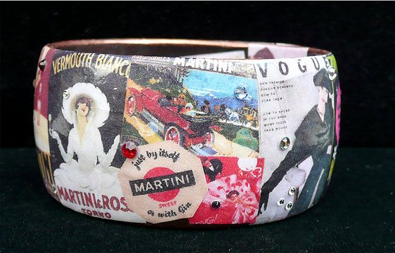 With a Twist Vintage Martini Poster Art Bracelet by Wearabella, $45.00