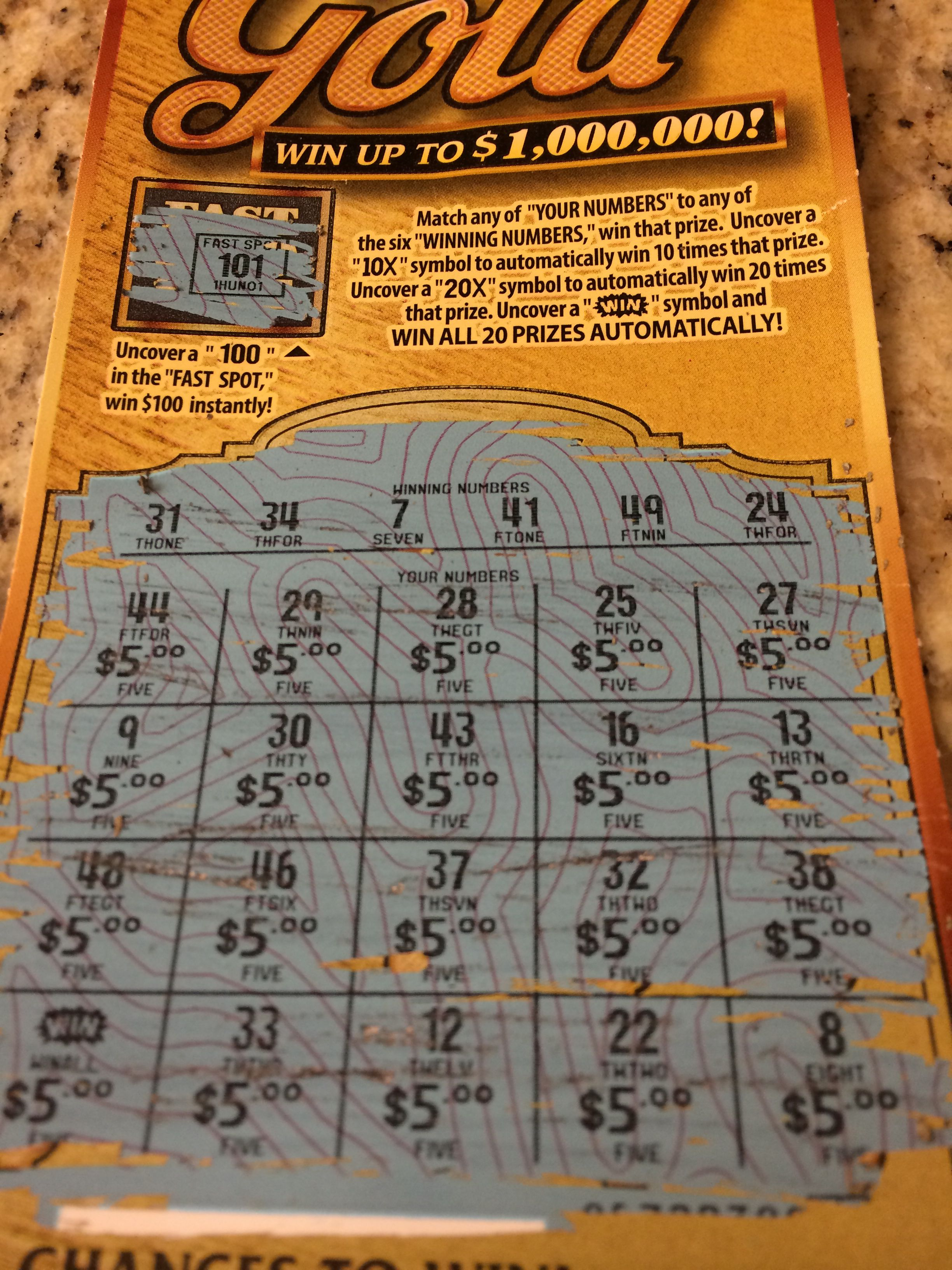 I just scratched this lottery ticket and I uncovered a WIN symbol so I get all 20 prizes there all five dollars but it's still pretty good!!!