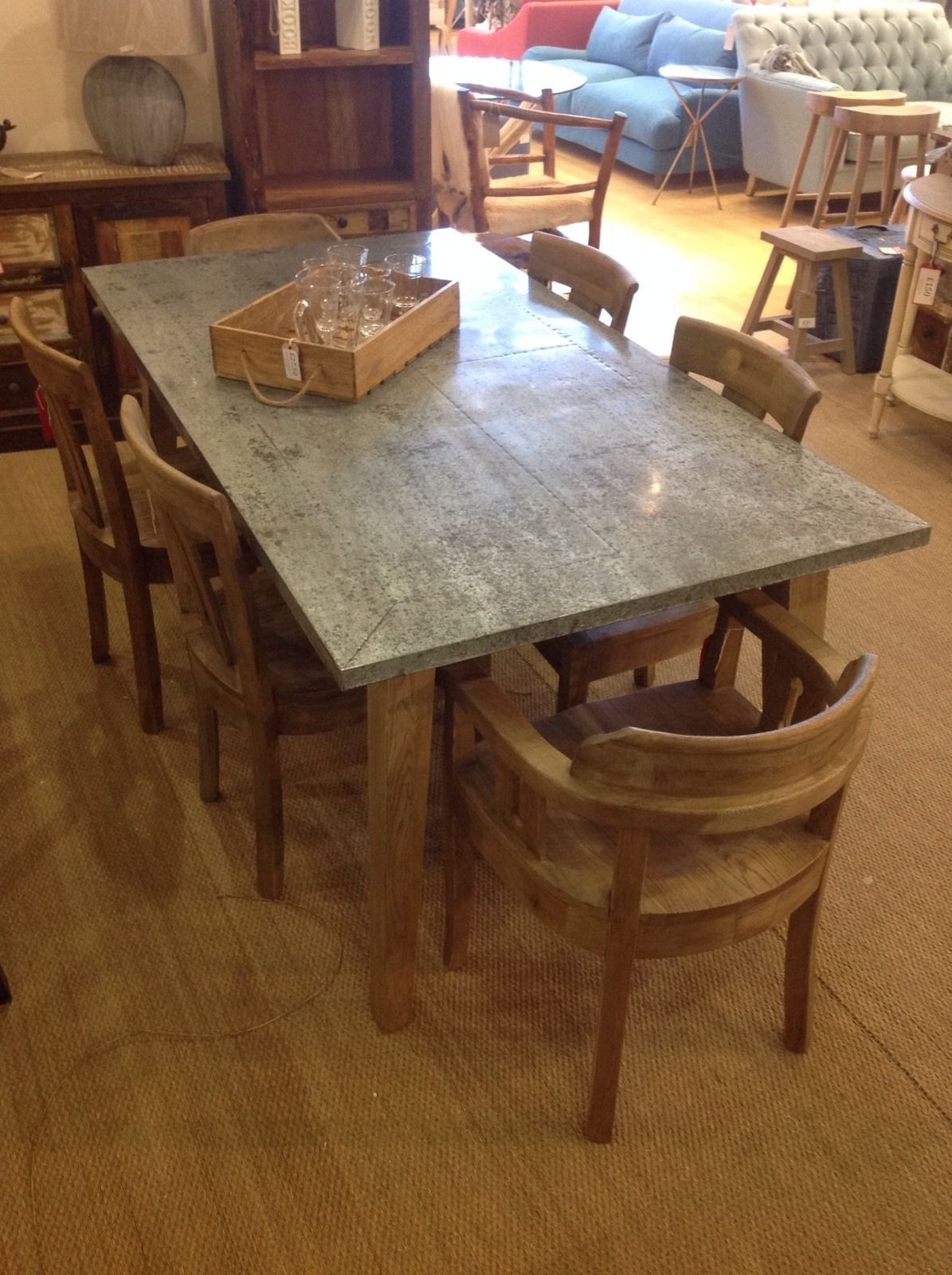 Large Daddy Zinc Top Oak Dining Table with oak frame  : 54459d7e27b453055820cfde37c96619 from www.pinterest.com size 1195 x 1600 jpeg 263kB