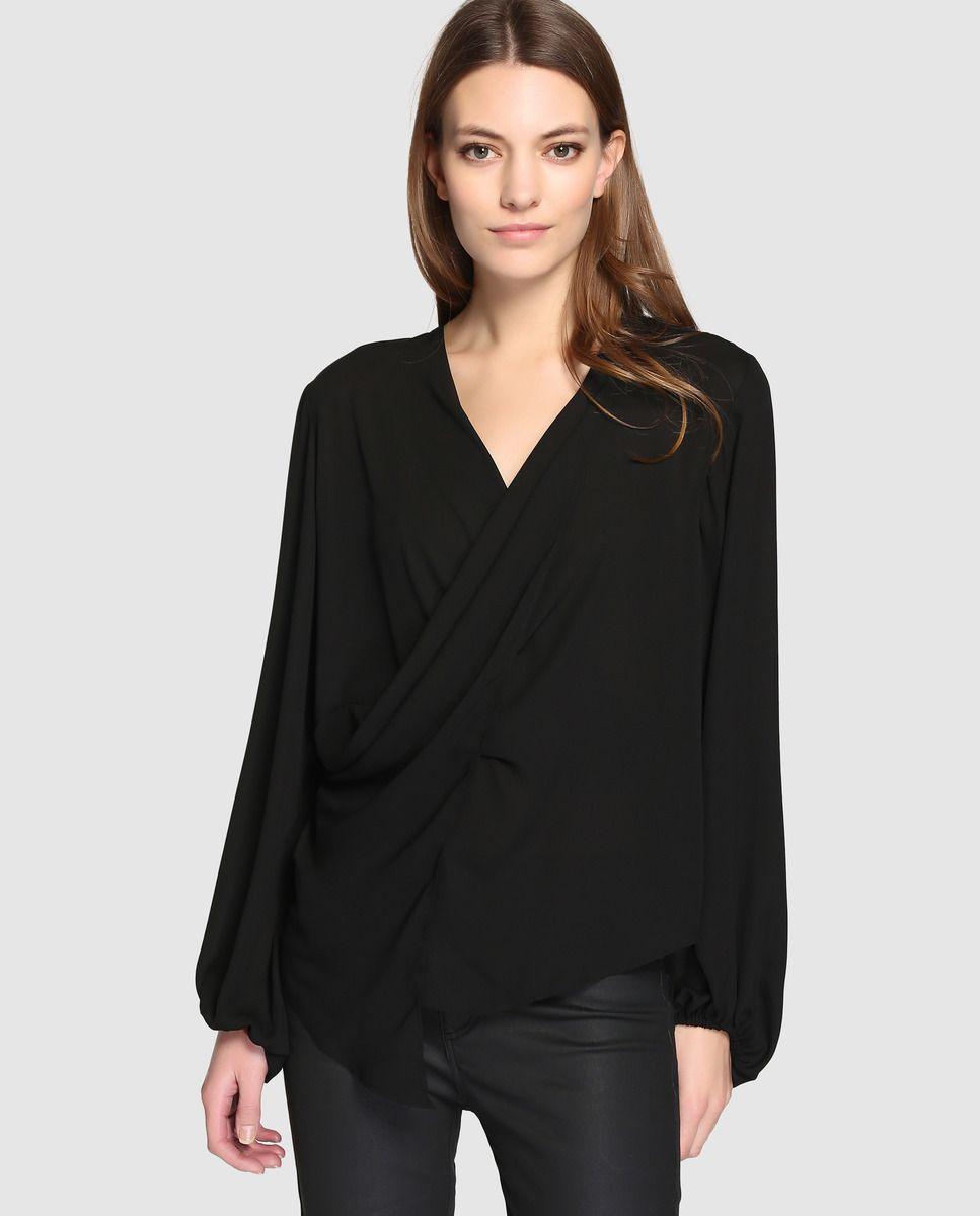 Blusa negra de mujer Zendra El Corte Inglés con escote cruzado · Zendra El  Corte Inglés · Moda · El Corte Inglés 0159515bdc4