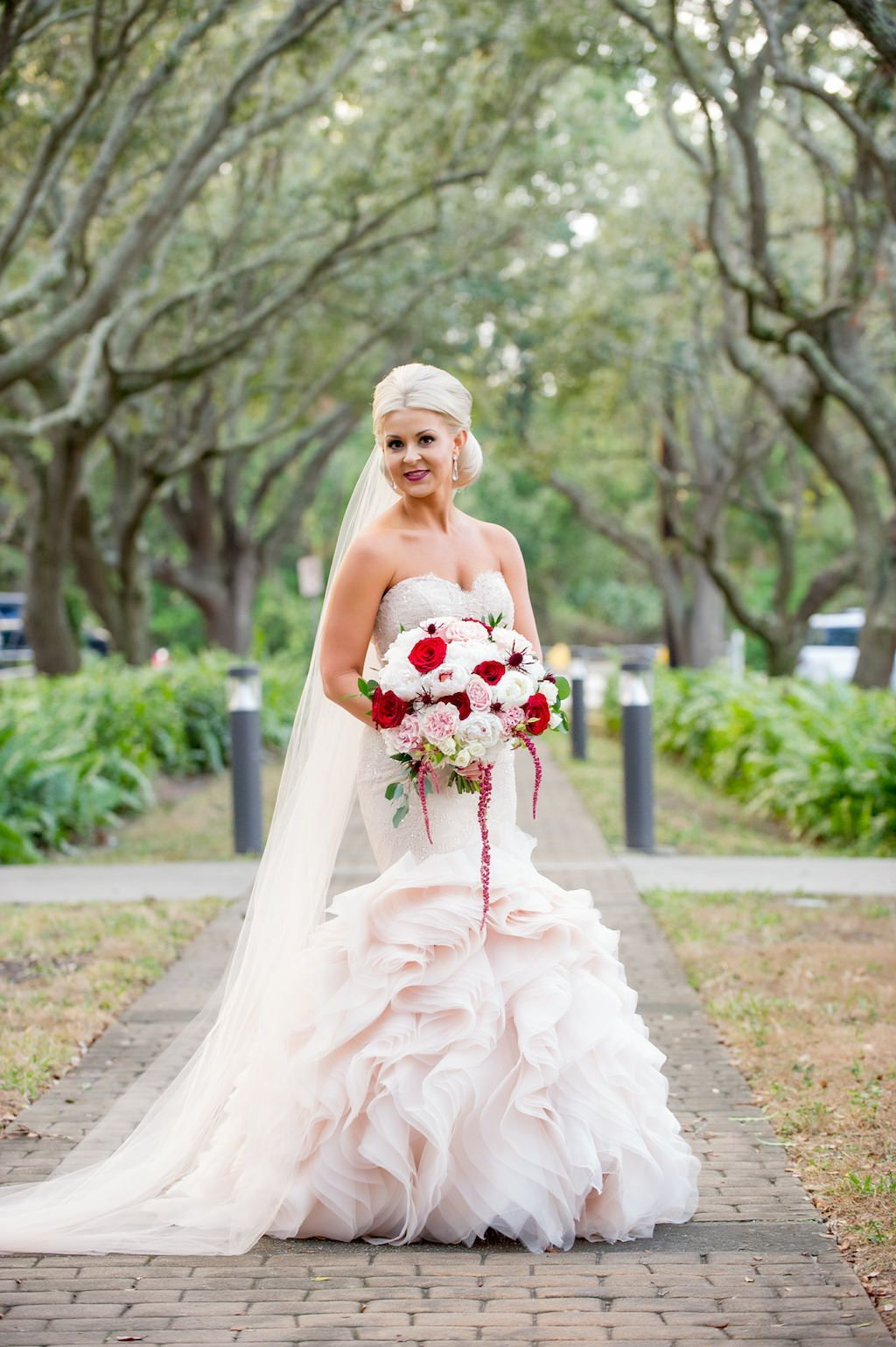 Glamorous Red And Blush Pink South Tampa Wedding Palma Ceia Golf And Country Club Red Wedding Dresses Blush Pink Wedding Dress Gorgeous Wedding Dress [ 1539 x 1024 Pixel ]
