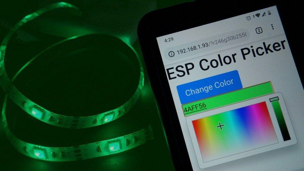 Esp32esp8266 rgb led strip with color picker web server