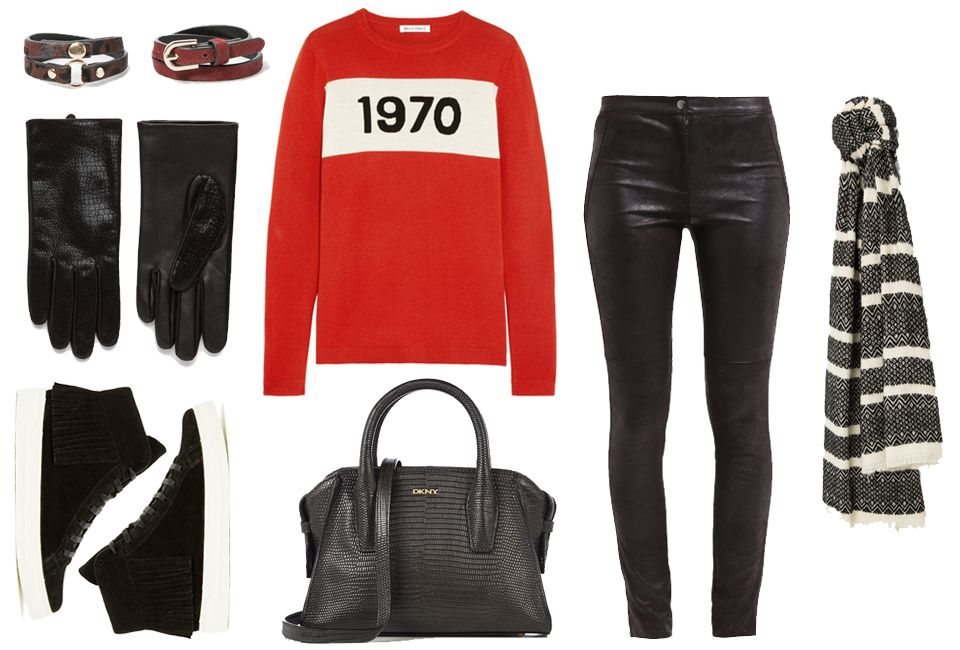Red sweater, leather pants & black sneakers - Styled by Manon