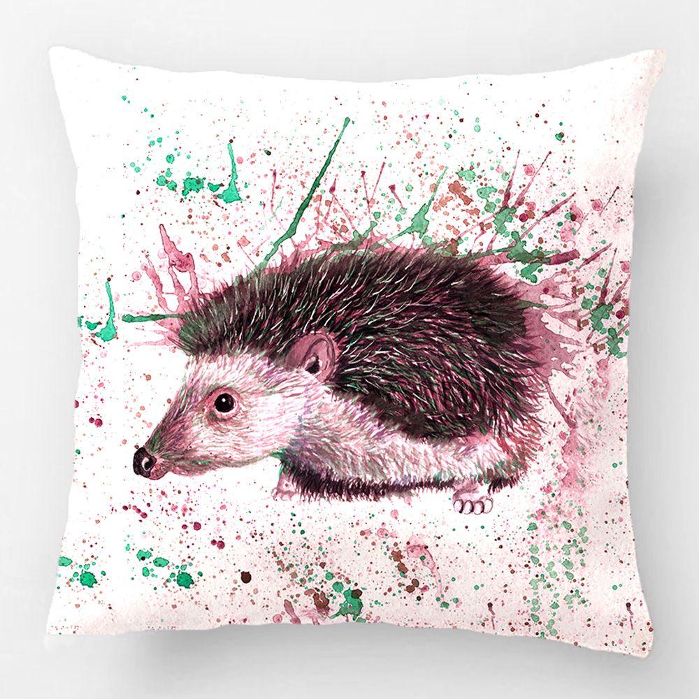Throw Pillow Case Decorative Cushion Cover Design With Hedgehog, Hedgehog  Home Decor Pillowcase,Custom