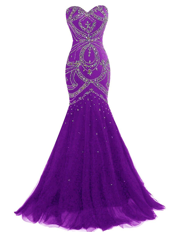 Dresstellslong mermaid prom dress corset back tulle evening gowns