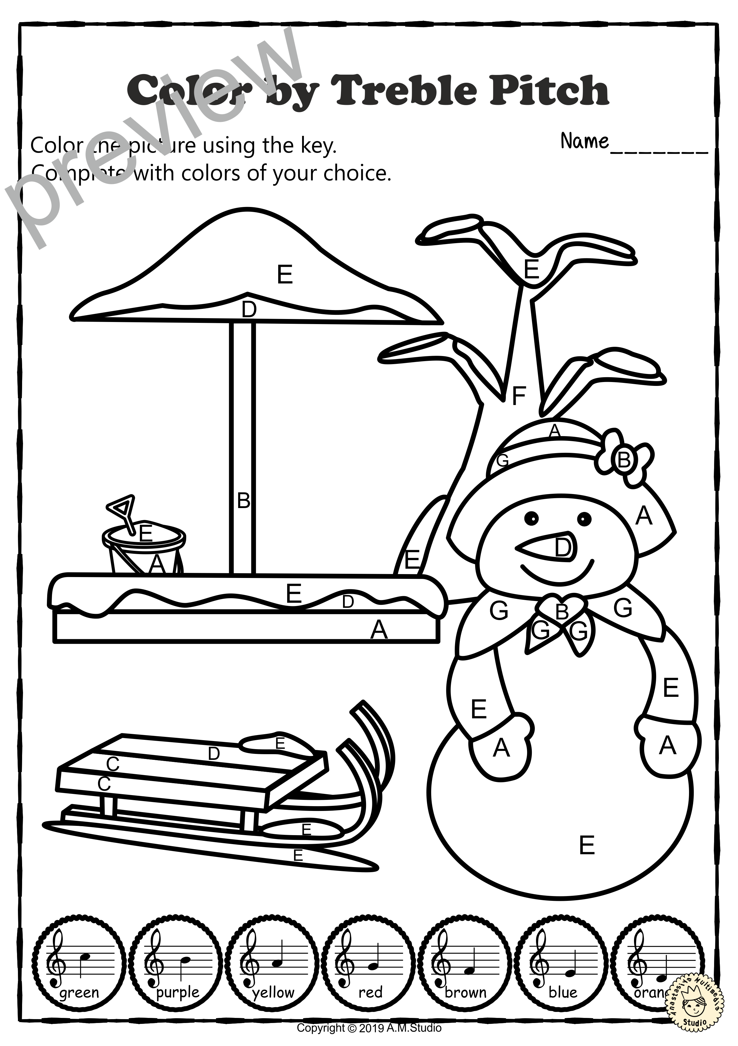 Musical Coloring Pages For Winter Color By Treble Pitch