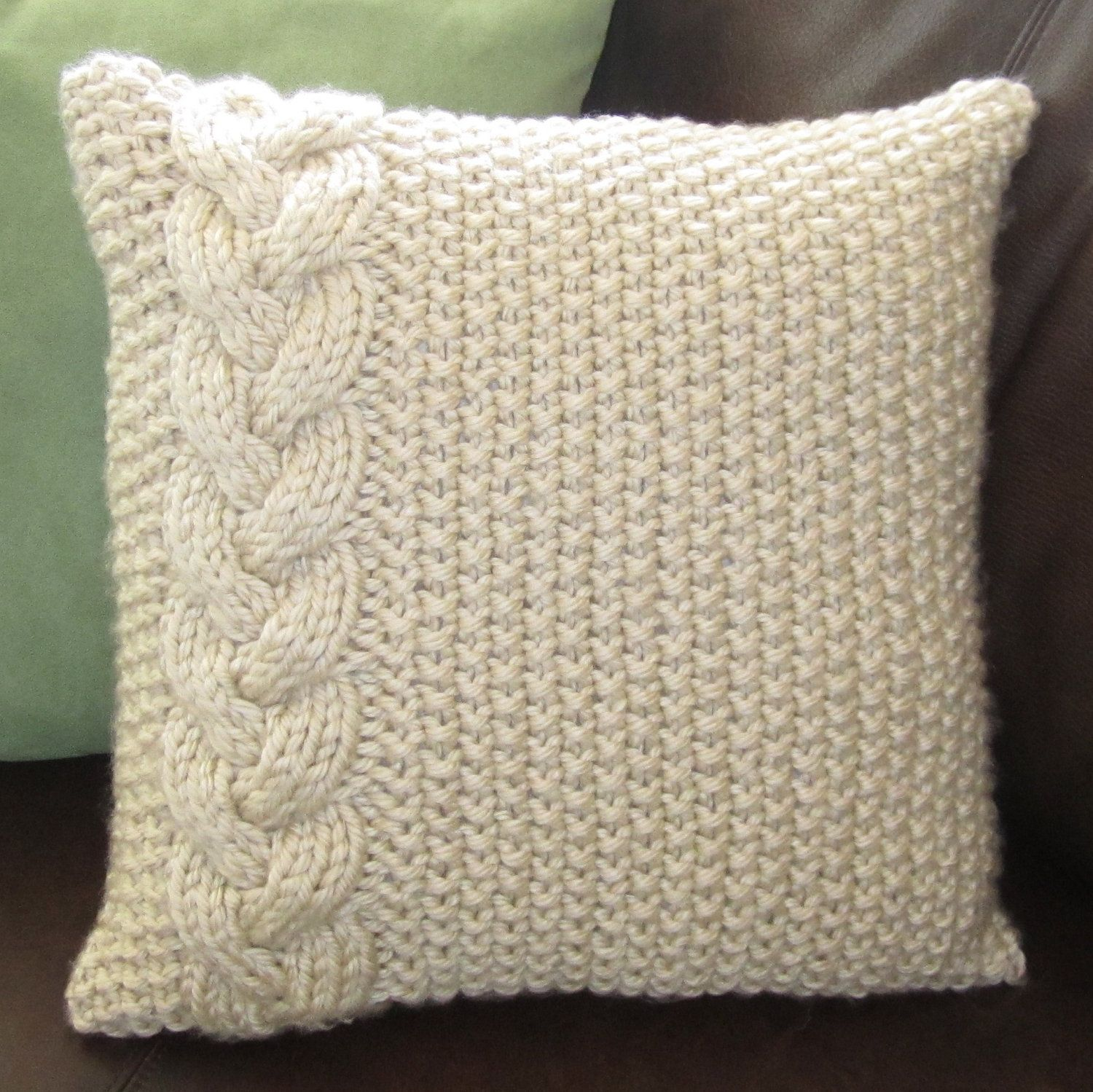 Knitting Pillows : Braided cable chunky hand knit pillow cover