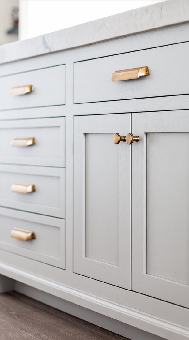 Love This Soft Grey Shaker Style Cabinets With The Gold Pulls
