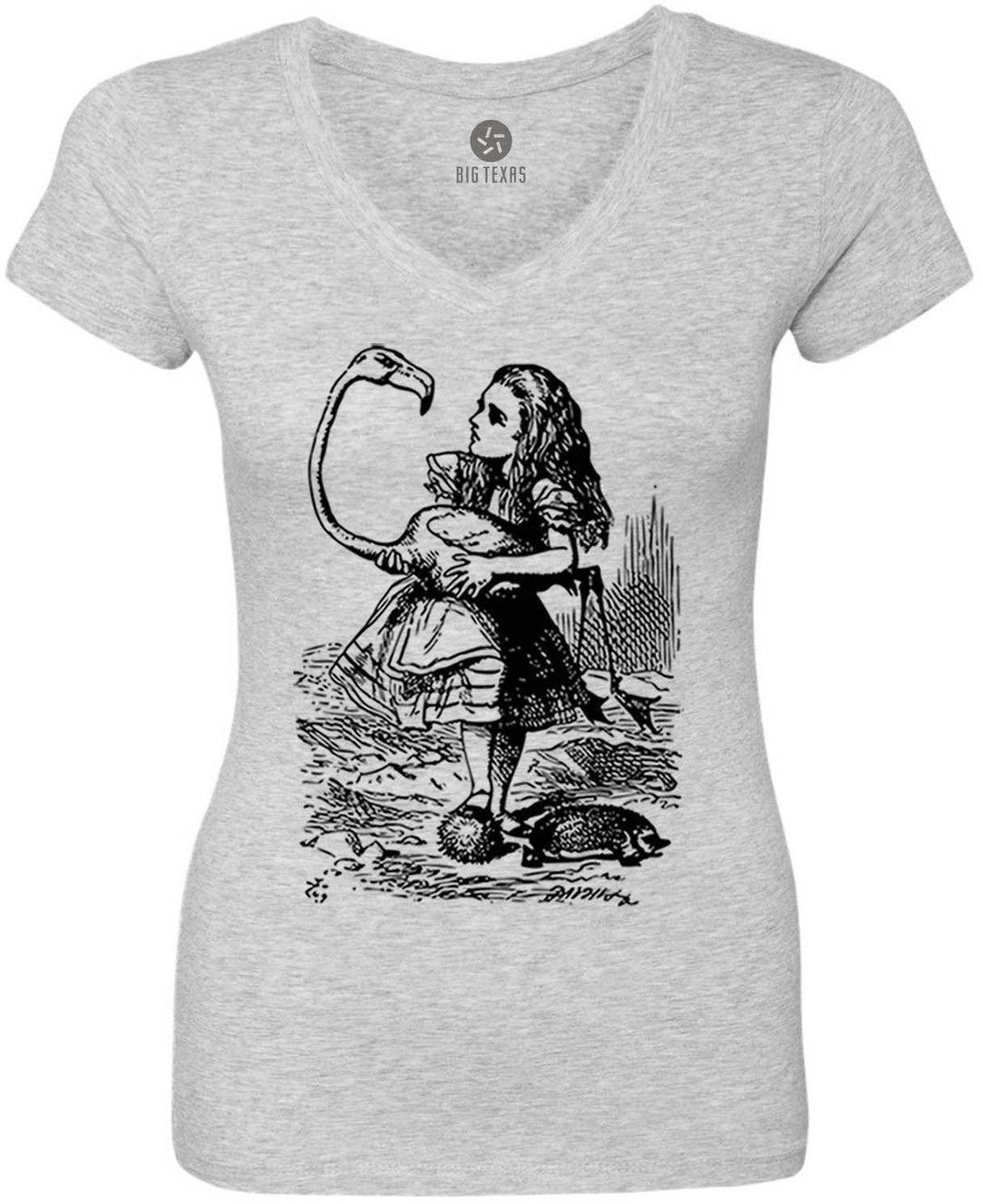 Alice in Wonderland - Alice Flamingo Croquet (Black) Women's Short-Sleeve V-Neck T-Shirt