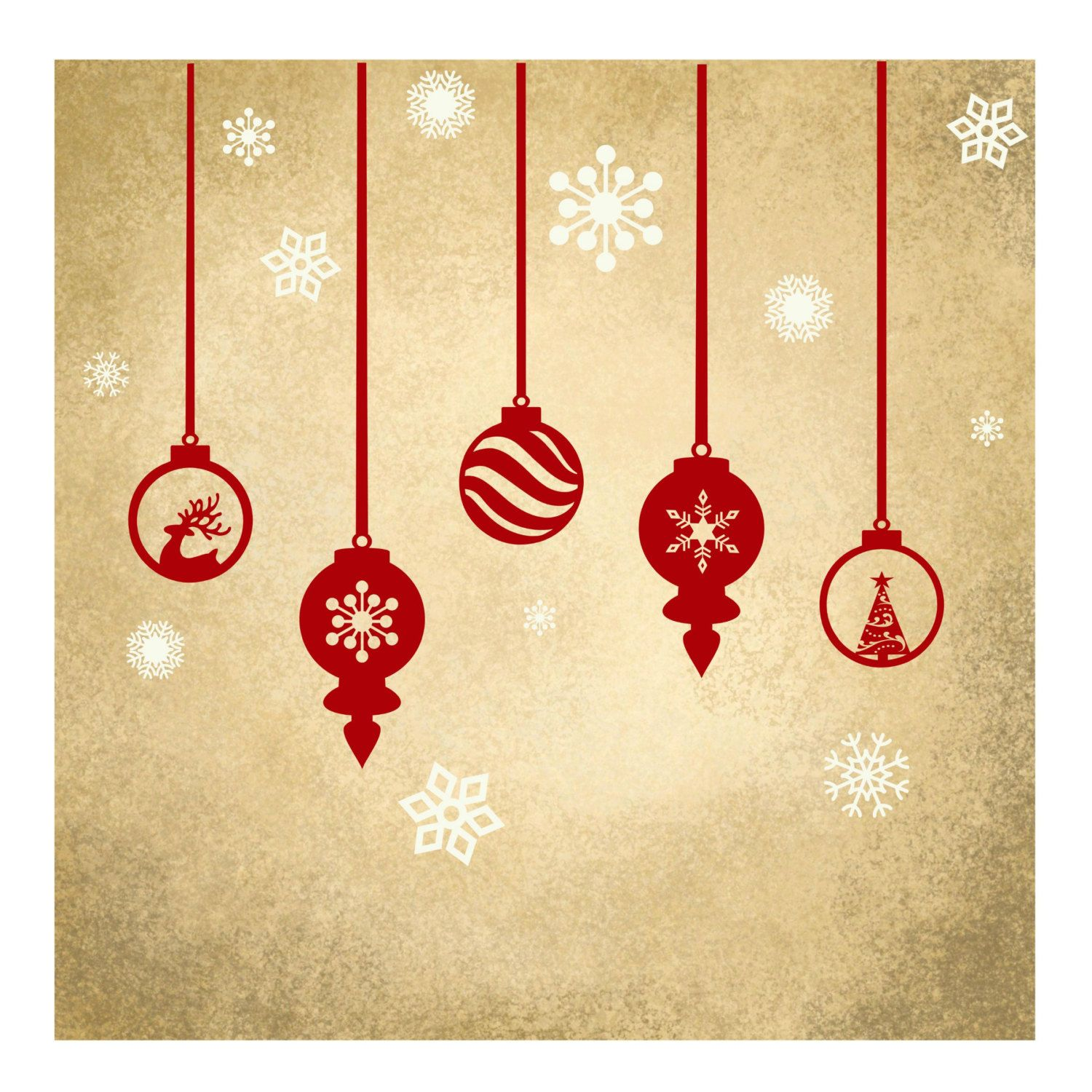 Decorative Vinyl Christmas Ornaments with Snowflakes: for Windows ...