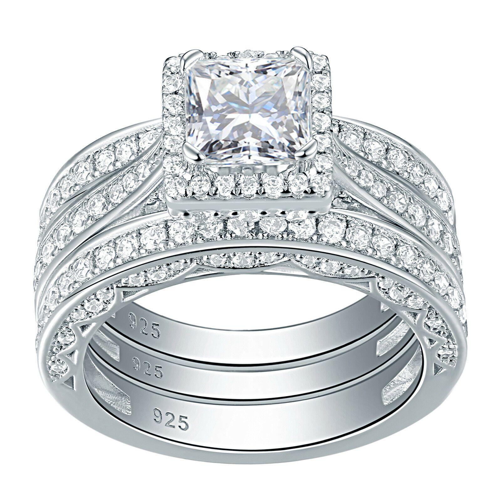 3 05 Tcw Cz 925 Sterling Silver 3 Piece Bridal Ring Set Wedding Ring Set In 2020 Wedding Ring Sets Sterling Silver Wedding Rings Sets Sterling Silver Wedding Sets
