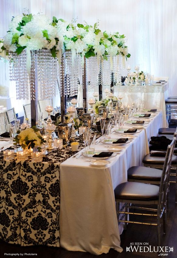 White And Black Wedding Reception Tablescapes Wedding Reception
