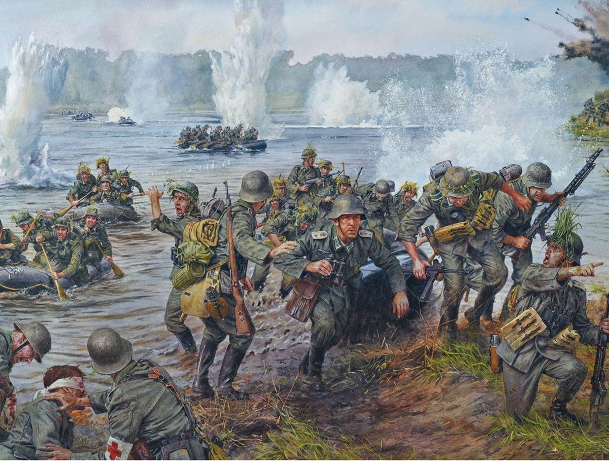 German Troops Crossing A River History War Military