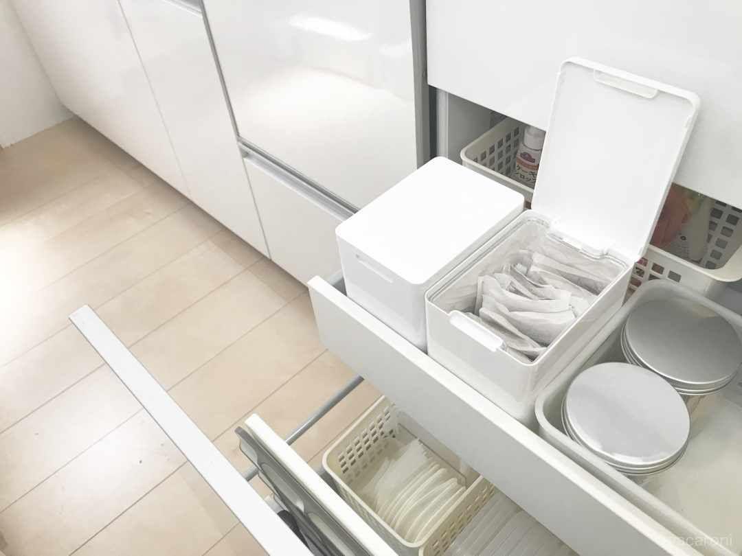 指1本で出し入れ楽々 ニトリ ダストボックス のすごワザ収納術3選 Macaroni ニトリ ダストボックス キッチン用収納ラベル ニトリ