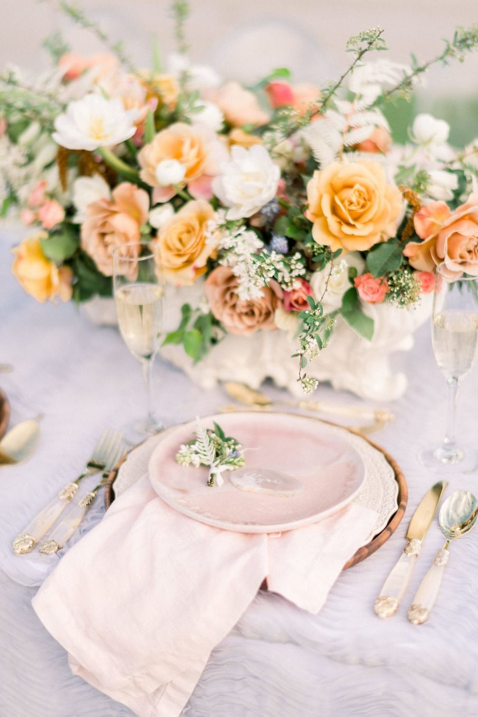 Blush And Orange Romantic Sunset Beach Wedding Table Decor For