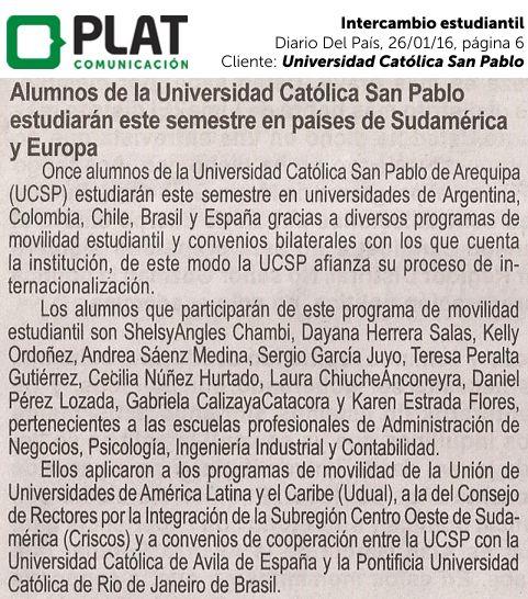 Universidad Católica San Pablo: Intercambio estudiantil en el diario Del País de Perú (26/01/16)