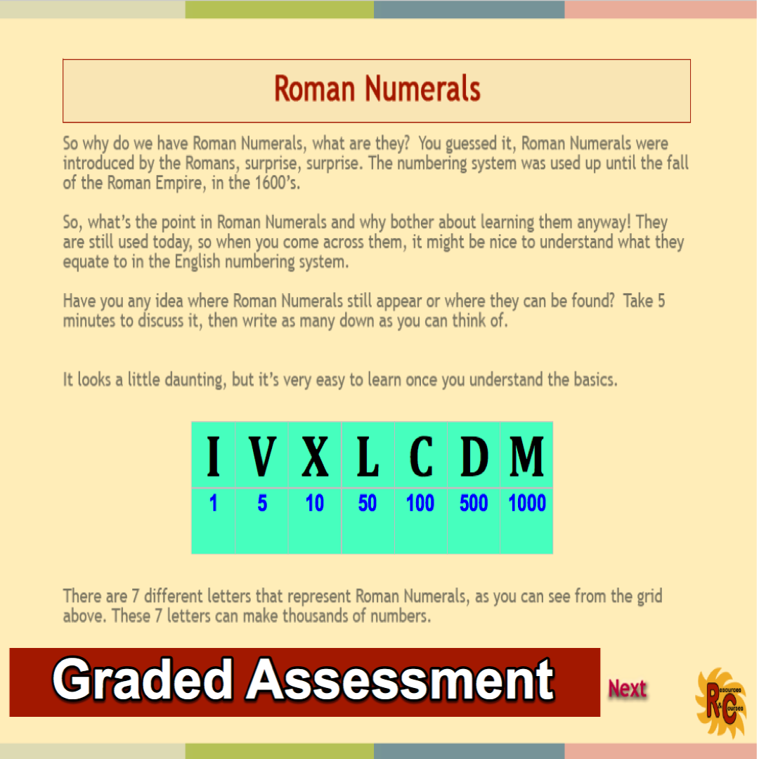 Roman Numerals Grade 4 7 Interactive Resources Set From