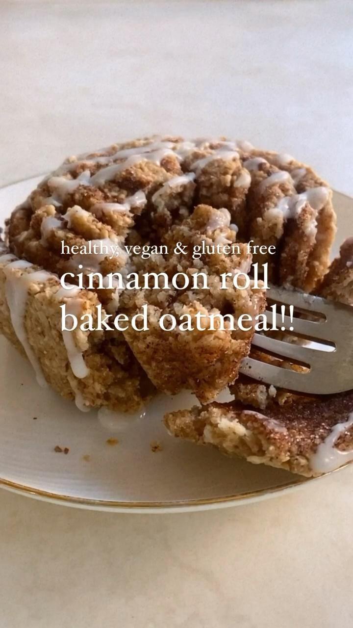 🤍cinnamon roll baked oatmeal!! (vegan, gluten free, healthy)🤍