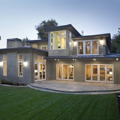 Gray Stucco White Windows Modern House Exterior Exterior