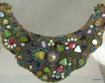 Sculptured  Garden Bead embroidered Necklace:  On SALE  Now 195.00  WAS 325.00