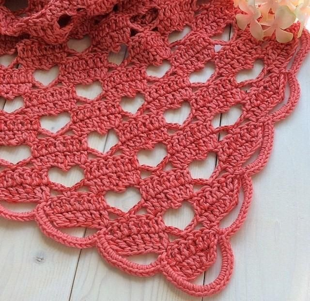 Shaw of hearts clear explanations Tina & # 39; s handicraft: crochet shawl heart stitch shape