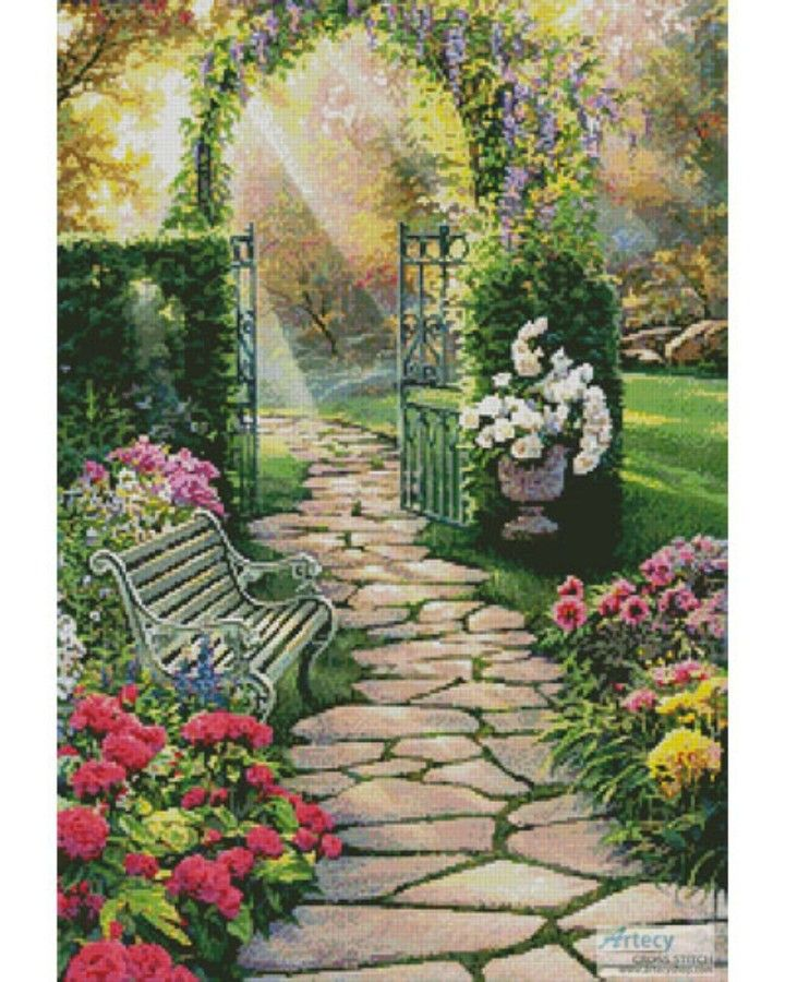 Photo of Garden Path Cross Stitch Pattern – Artwork by Russell Cobane artecyshop.com #art…