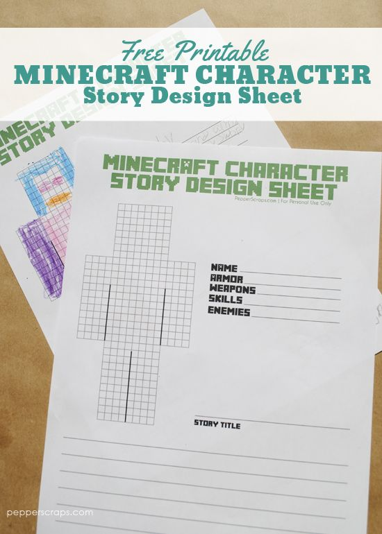 Free Printable Minecraft Character Story Design Sheet in 2018 ...