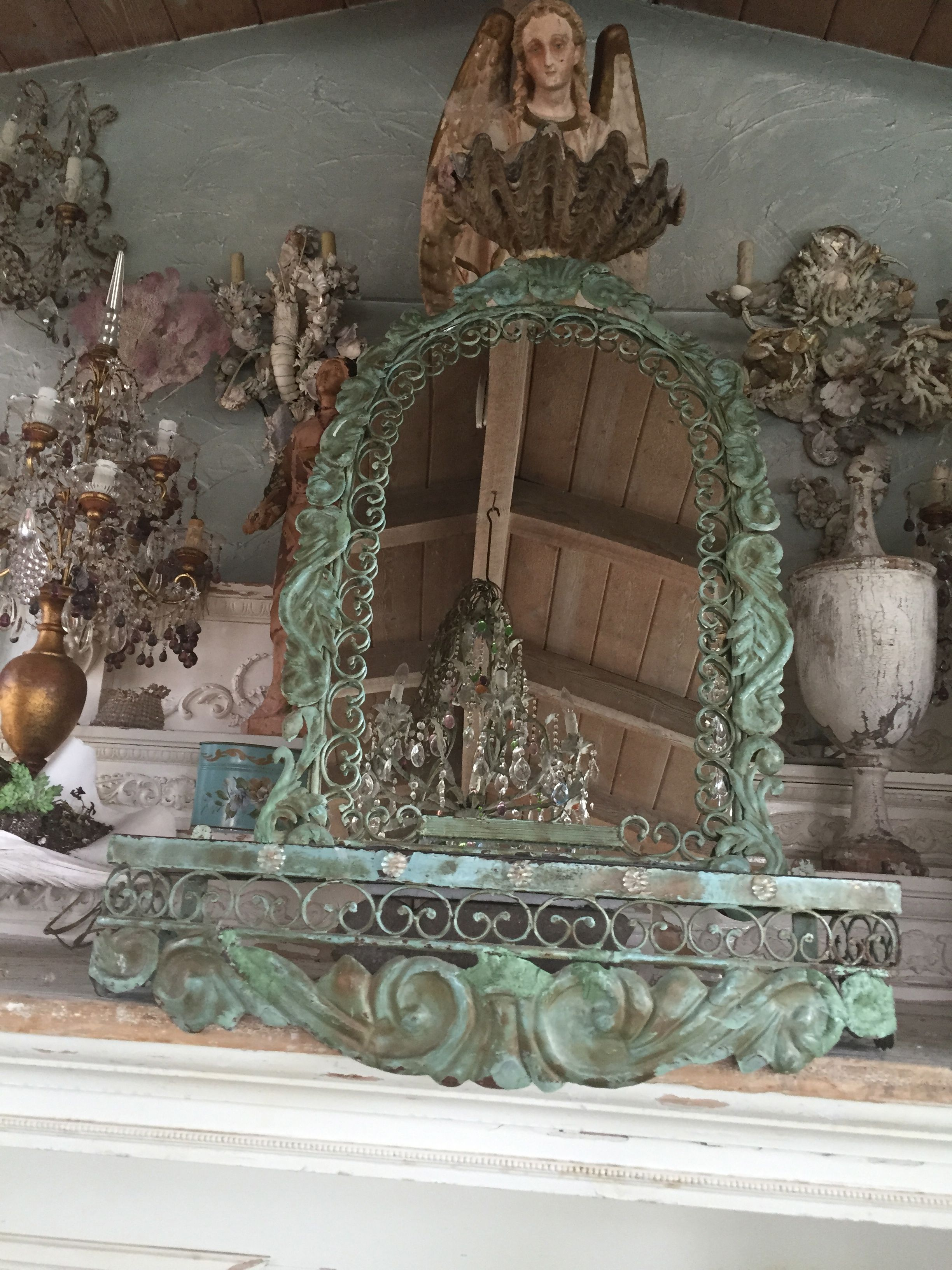 ANTIQUE iron mirror and wall mount table at myparisfleamarket.com