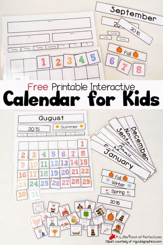 Cute Free Printable Calendar for Circle Time with Kids - Preschool