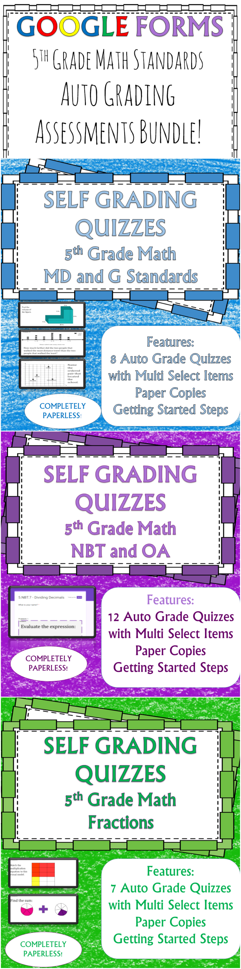 Google Forms Quizzes for all of the 5th grade standards! 27 quizzes that will cover the entire year for all for all of the skills that you teach! They grade automatically! Save yourself the hassle of grading and check these out today!